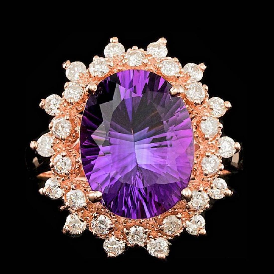14k Rose Gold 4.50ct Amethyst 0.80ct Diamond Ring