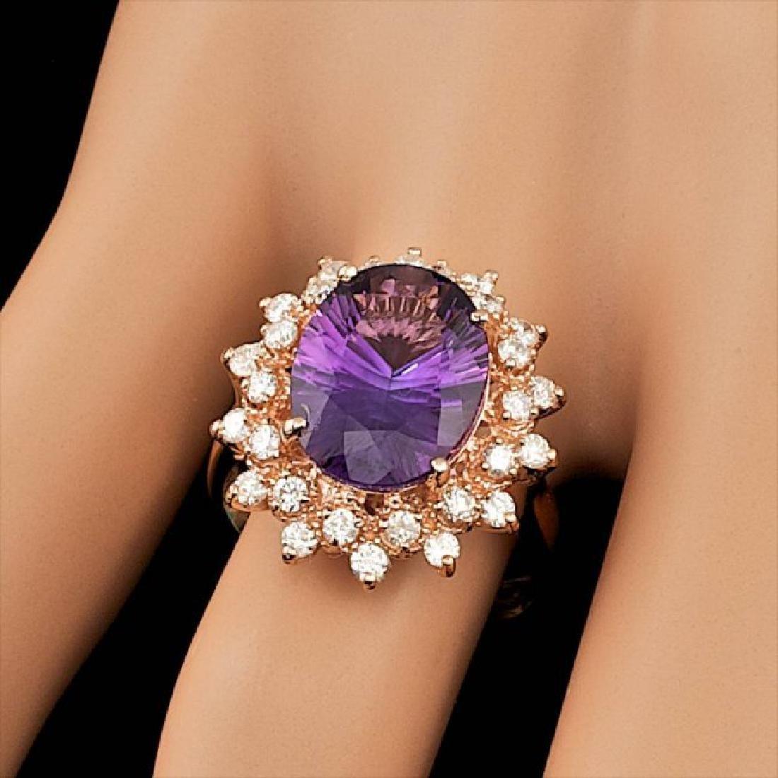 14k Rose Gold 4.50ct Amethyst 0.80ct Diamond Ring - 4