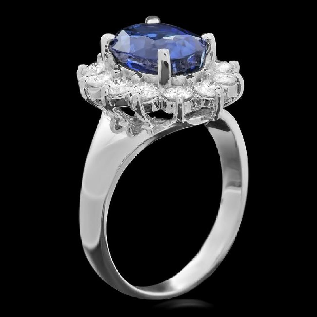 14k Gold 4.00ct Sapphire 1.00ct Diamond Ring - 2