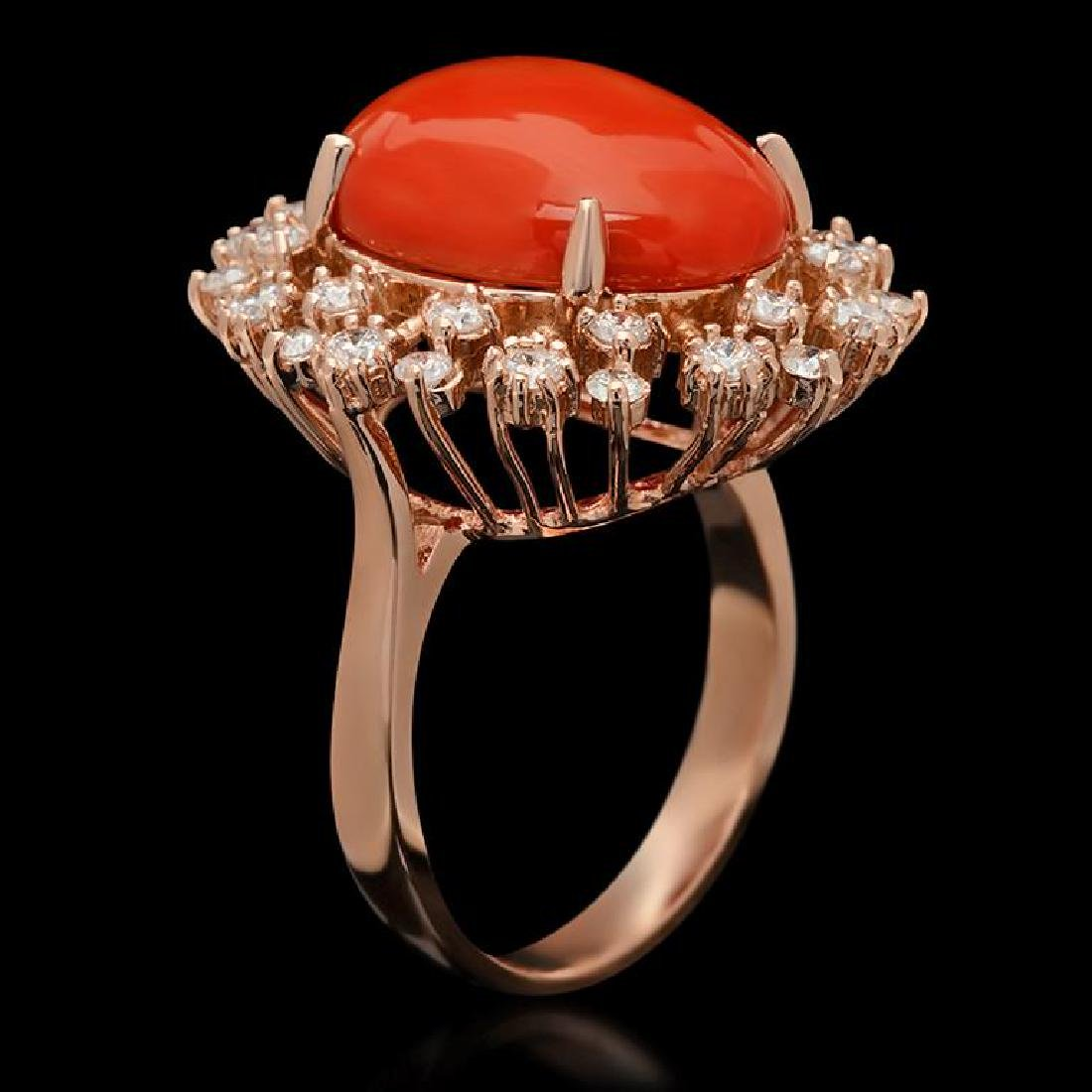 14K Gold 7.63ct Coral & 1.00ct Diamond Ring - 2