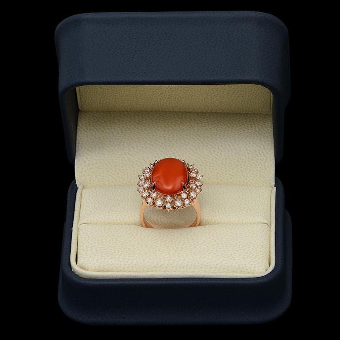 14K Gold 7.63ct Coral & 1.00ct Diamond Ring - 3