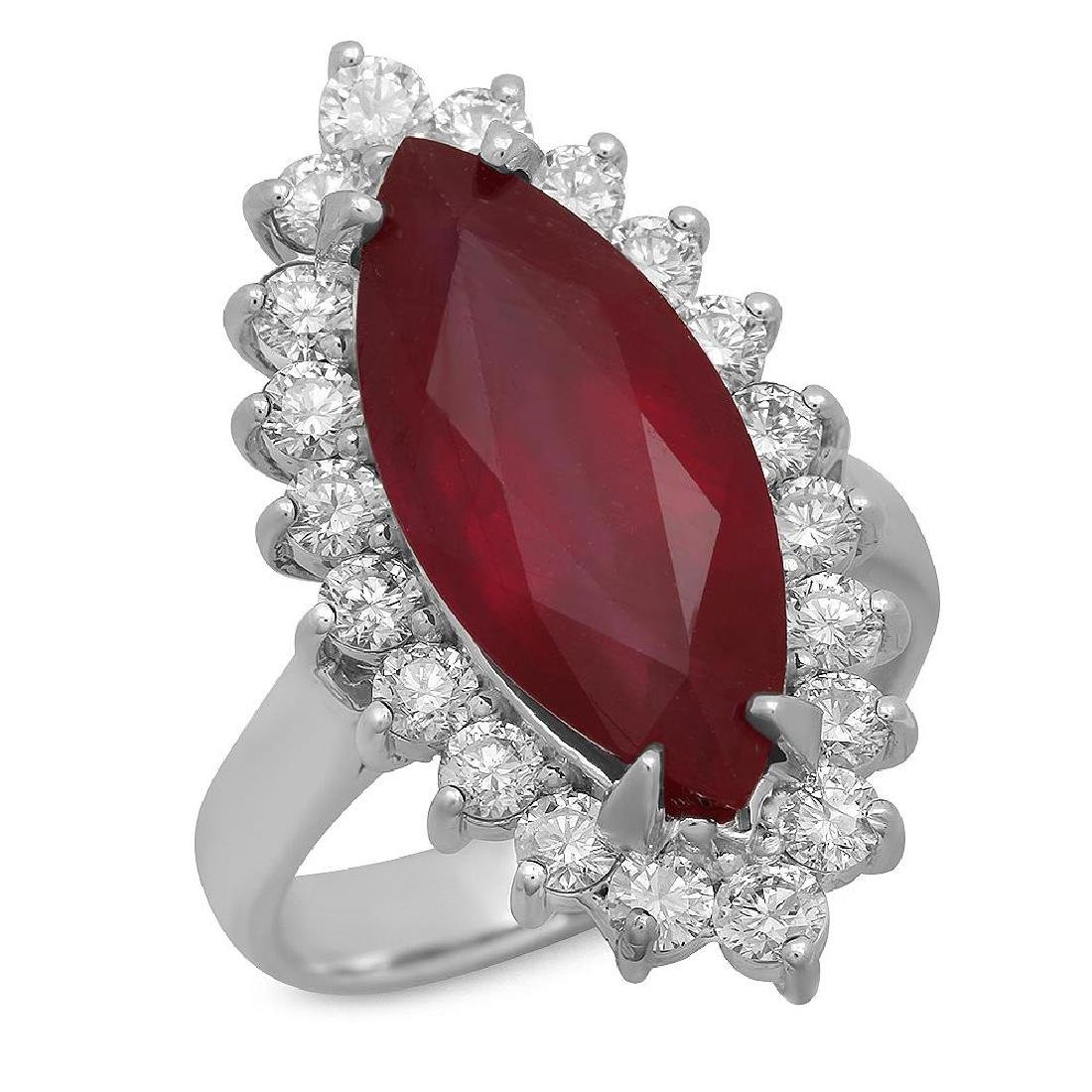 14K Gold 8.09ct Ruby 1.45ct Diamond Ring