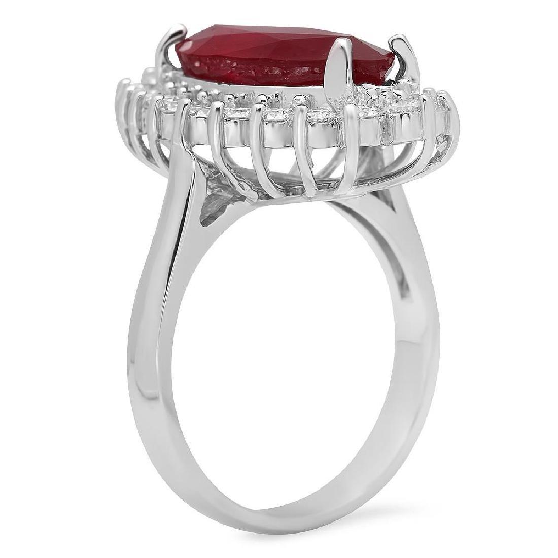 14K Gold 8.09ct Ruby 1.45ct Diamond Ring - 2