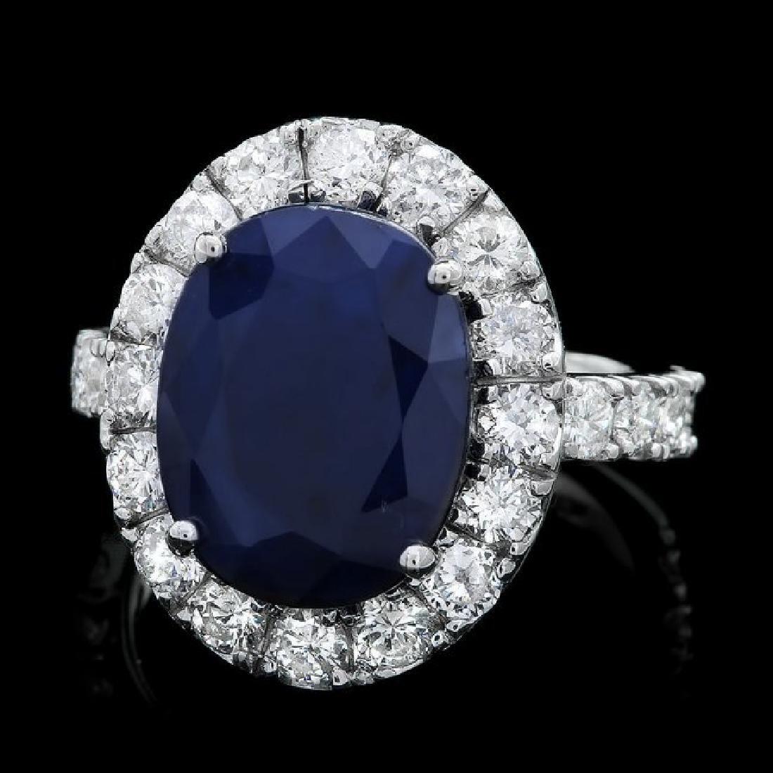 14k Gold 8.00ct Sapphire 2.00ct Diamond Ring