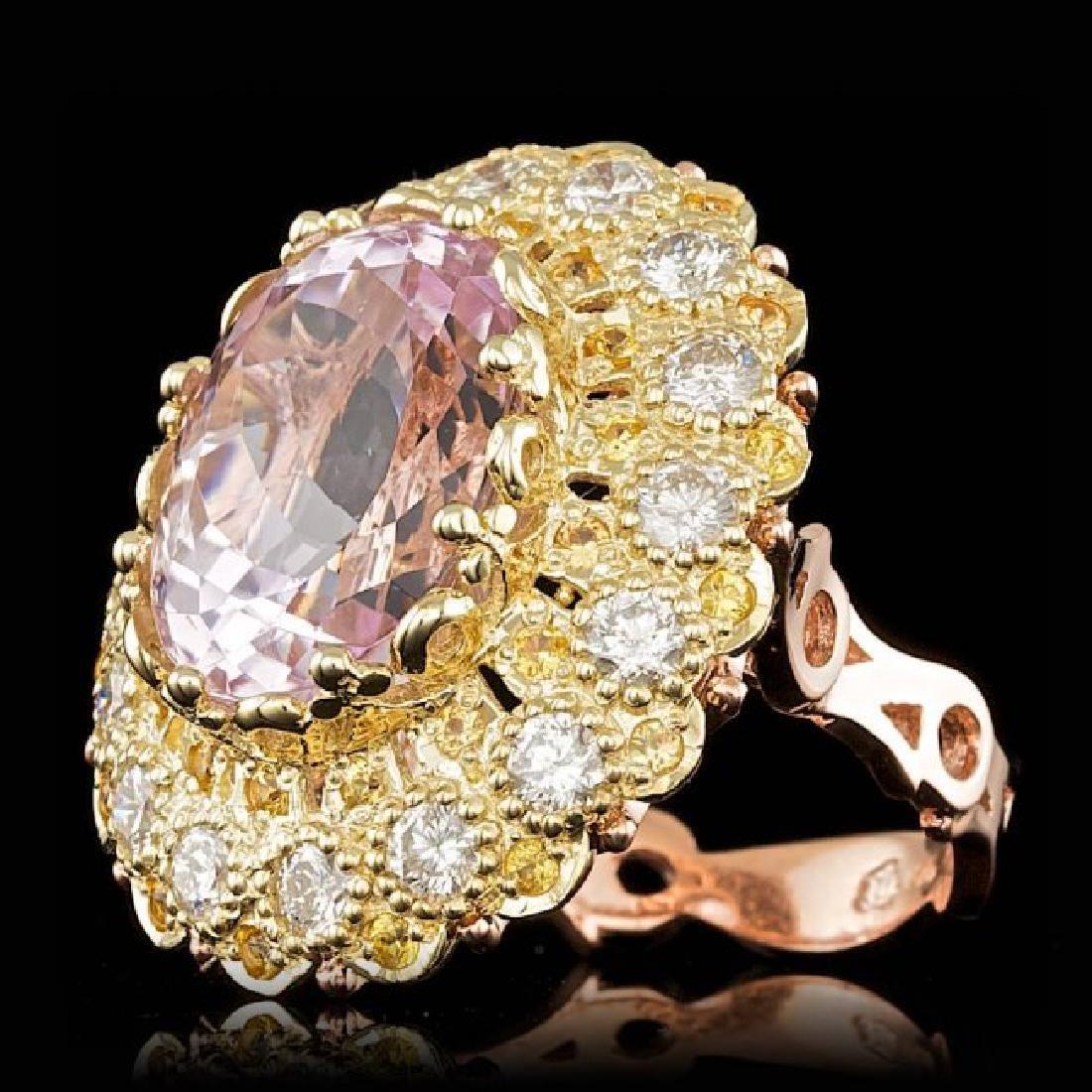 14k Gold 14.00ct Kunzite 2.05ct Diamond Ring - 2