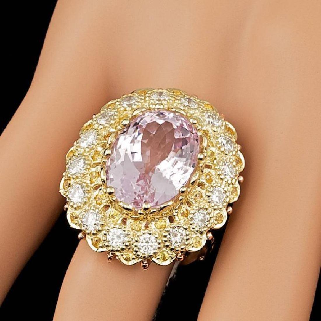 14k Gold 14.00ct Kunzite 2.05ct Diamond Ring - 3