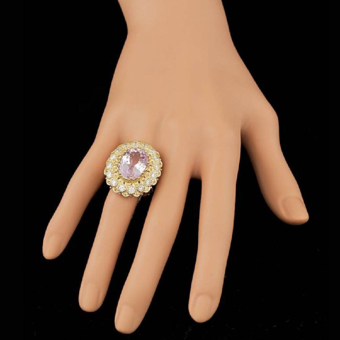 14k Gold 14.00ct Kunzite 2.05ct Diamond Ring - 4