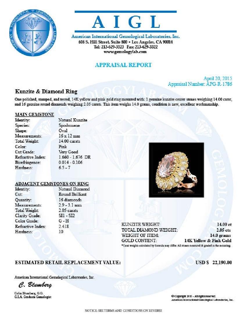 14k Gold 14.00ct Kunzite 2.05ct Diamond Ring - 5