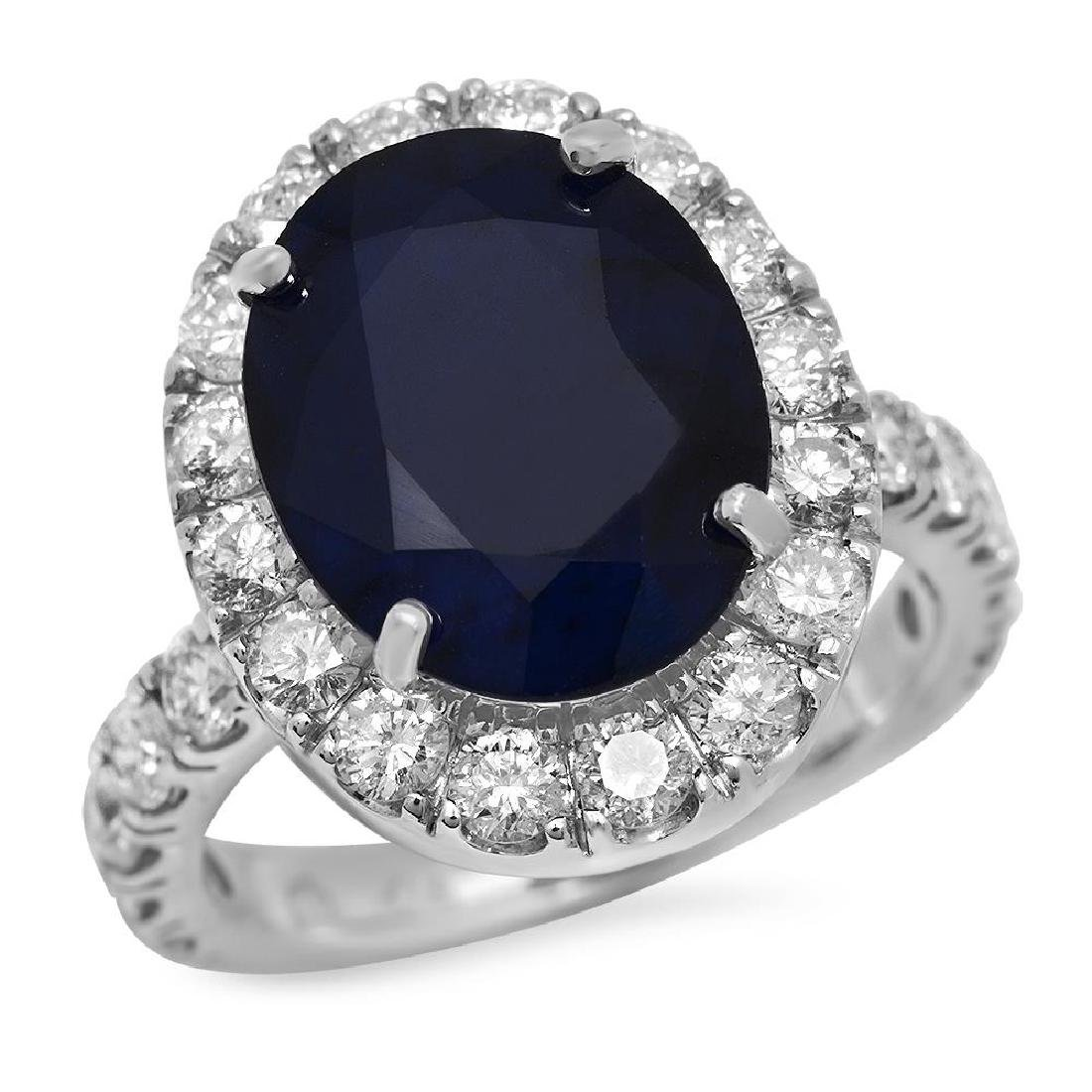 14K Gold 8.00ct Sapphire 2.00ct Diamond Ring