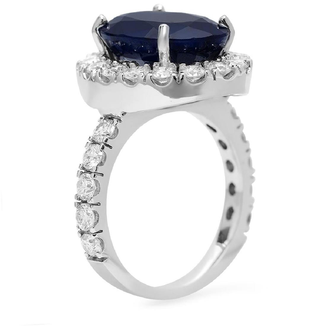 14K Gold 8.00ct Sapphire 2.00ct Diamond Ring - 2