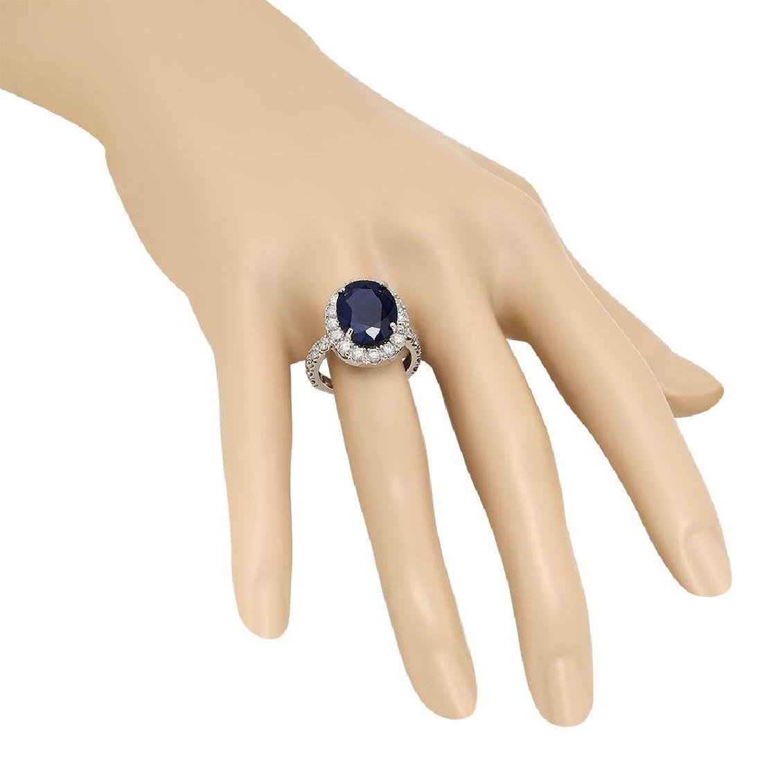 14K Gold 8.00ct Sapphire 2.00ct Diamond Ring - 3