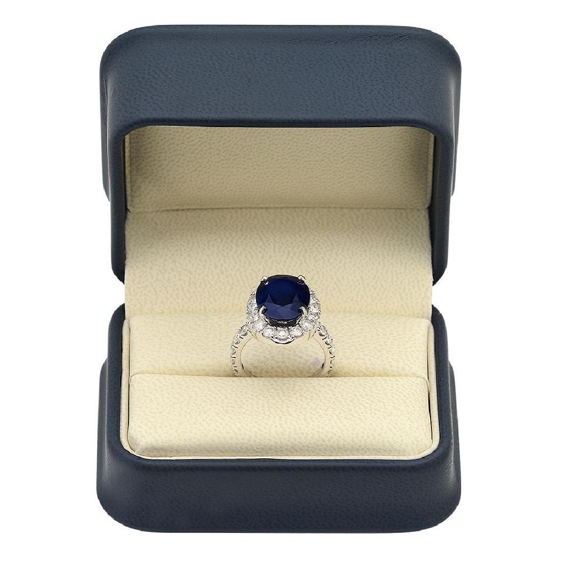 14K Gold 8.00ct Sapphire 2.00ct Diamond Ring - 4