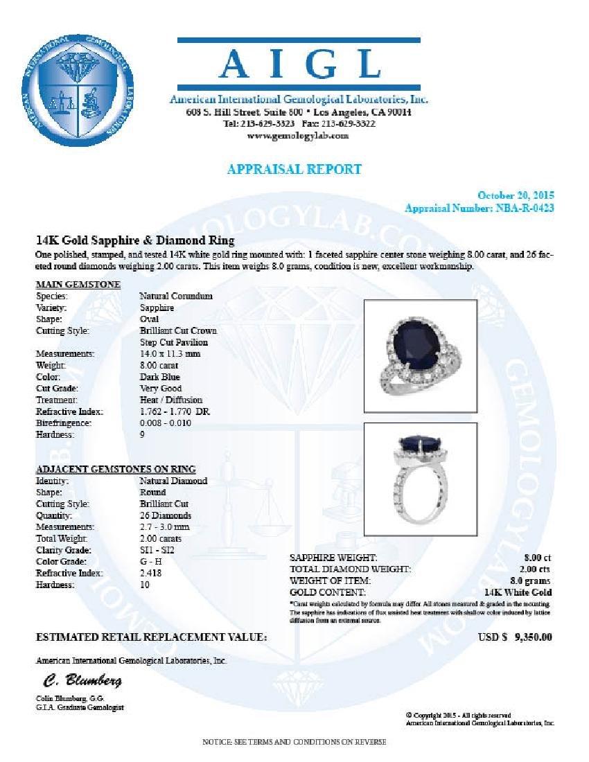 14K Gold 8.00ct Sapphire 2.00ct Diamond Ring - 5
