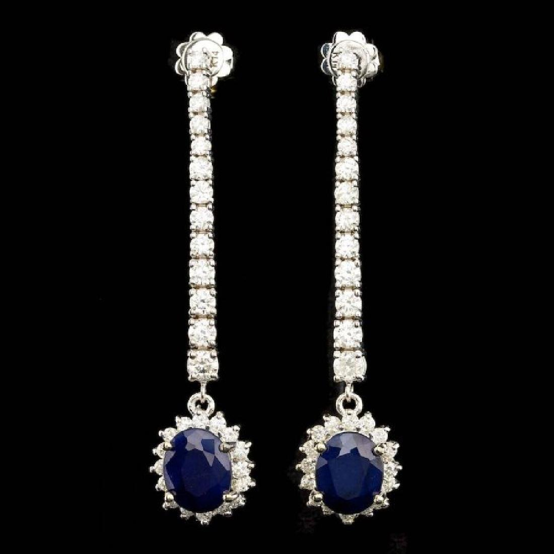 14k Gold 6.00ct Sapphire 2.90ct Diamond Earrings