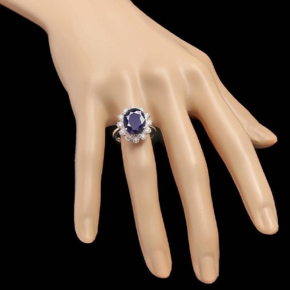 14k Gold 6.00ct Sapphire 1.35ct Diamond Ring - 3