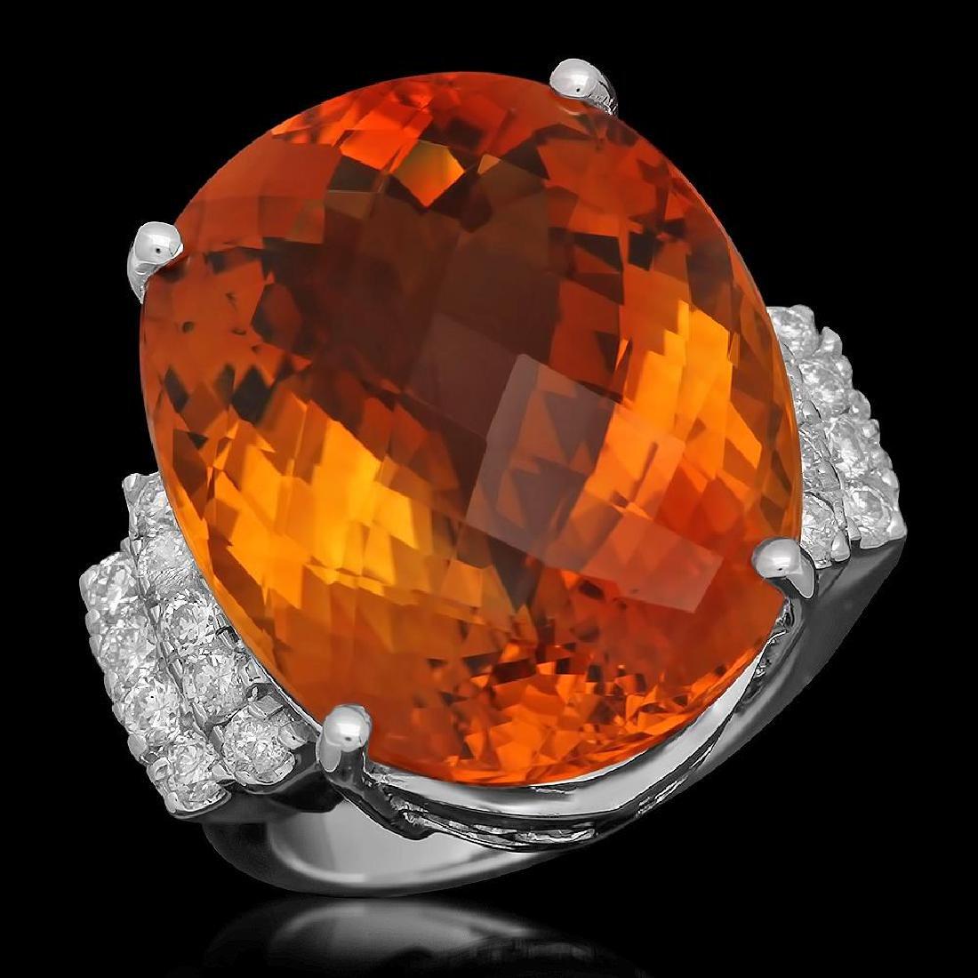 14K Gold 27.77ct Citrine 0.79ct Diamond Ring