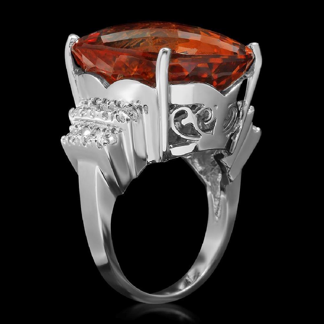 14K Gold 27.77ct Citrine 0.79ct Diamond Ring - 2