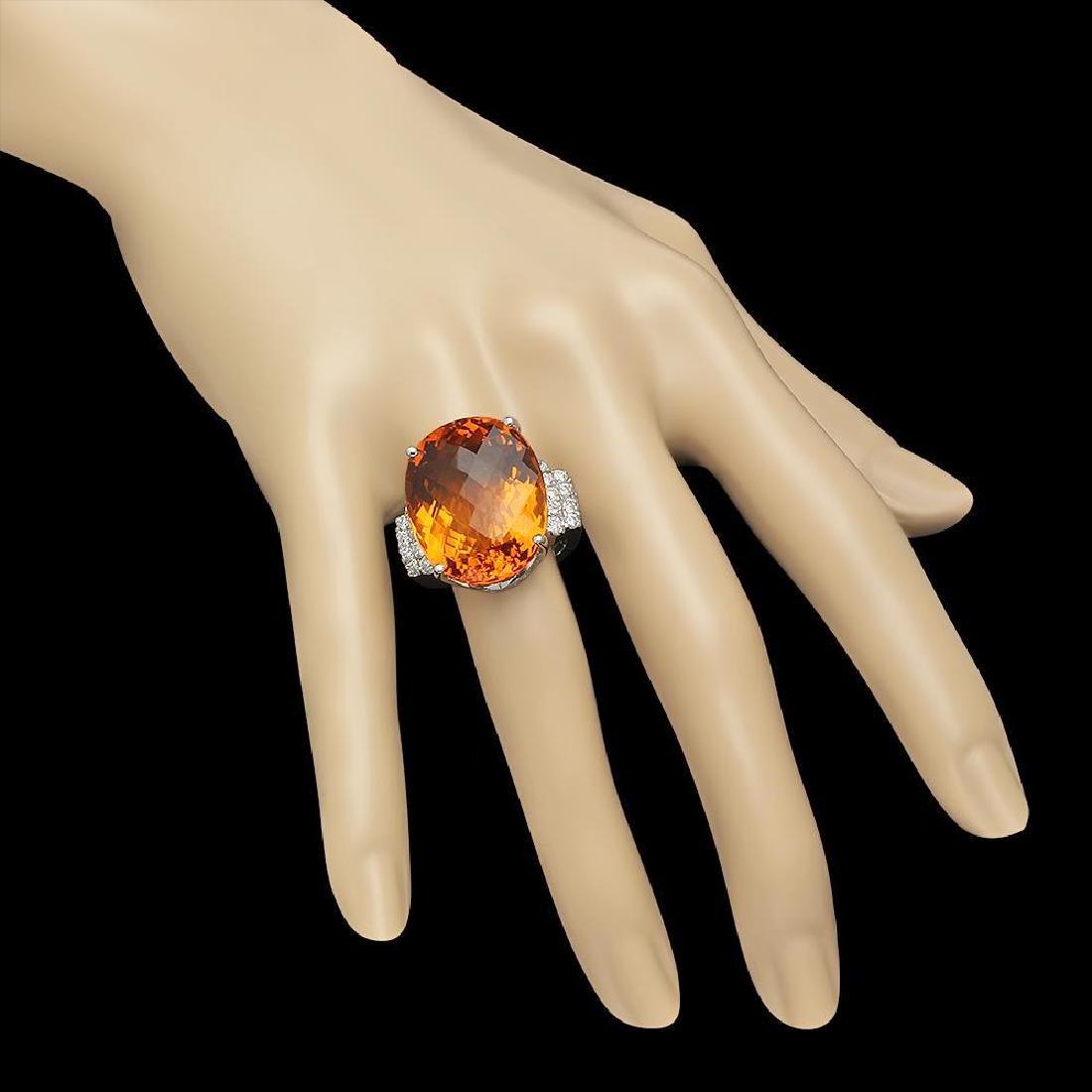 14K Gold 27.77ct Citrine 0.79ct Diamond Ring - 3