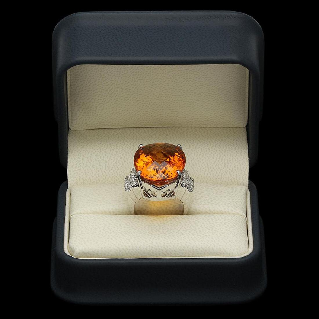 14K Gold 27.77ct Citrine 0.79ct Diamond Ring - 4