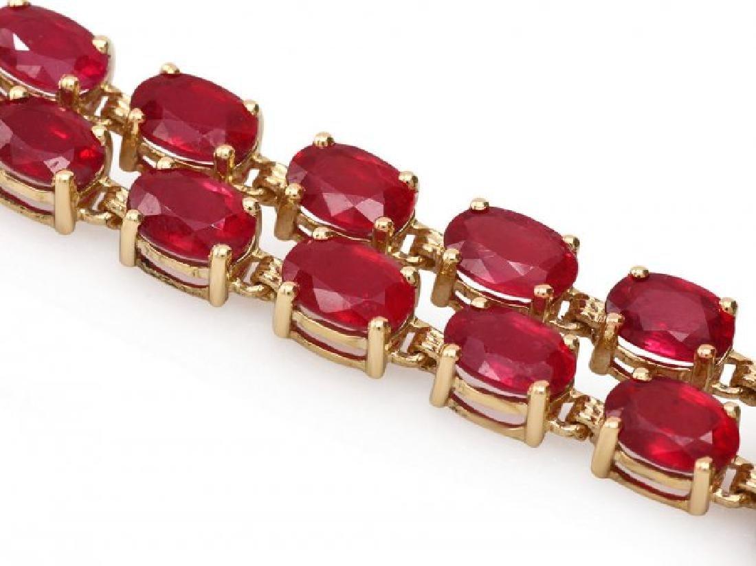 14k Yellow Gold 31ct Ruby 0.30ct Diamond Bracelet - 2