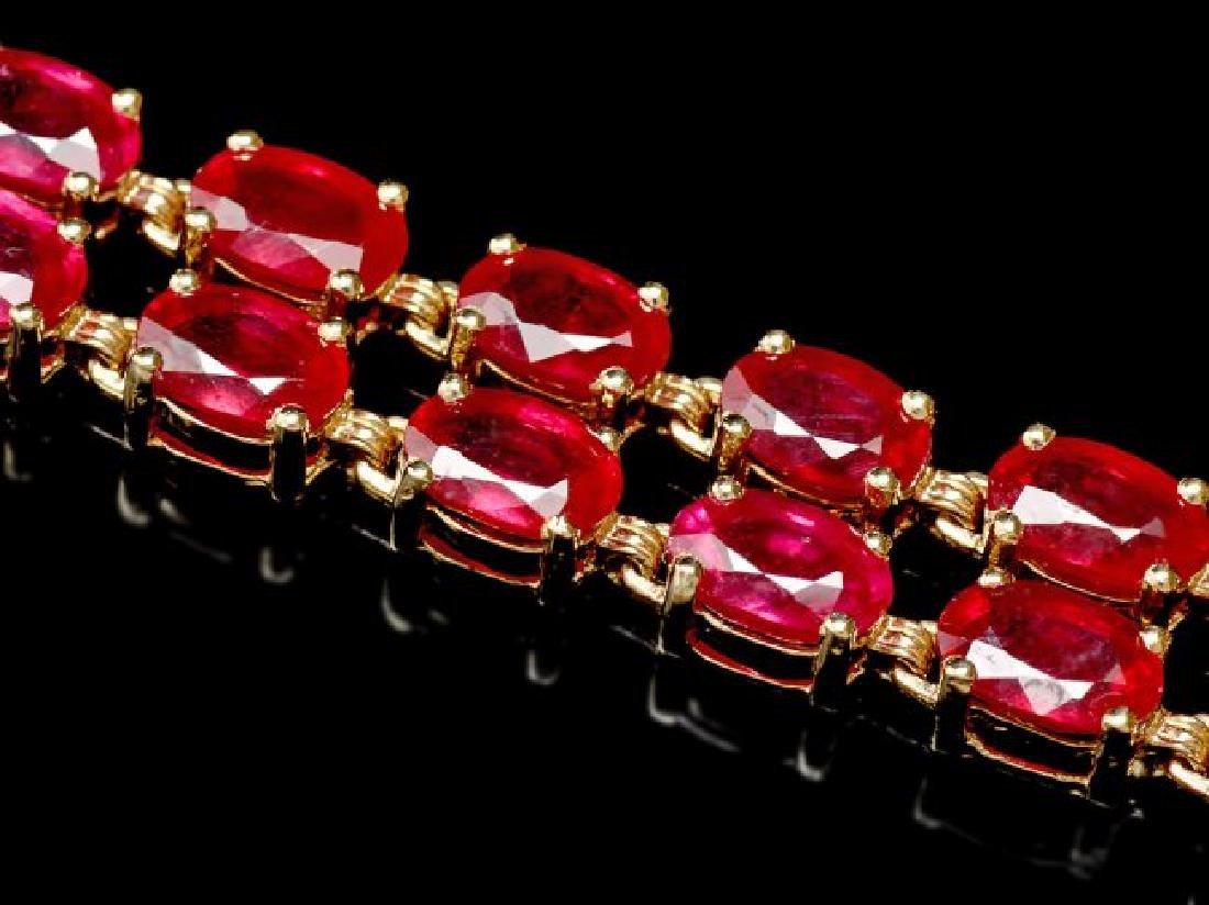 14k Yellow Gold 31ct Ruby 0.30ct Diamond Bracelet - 3