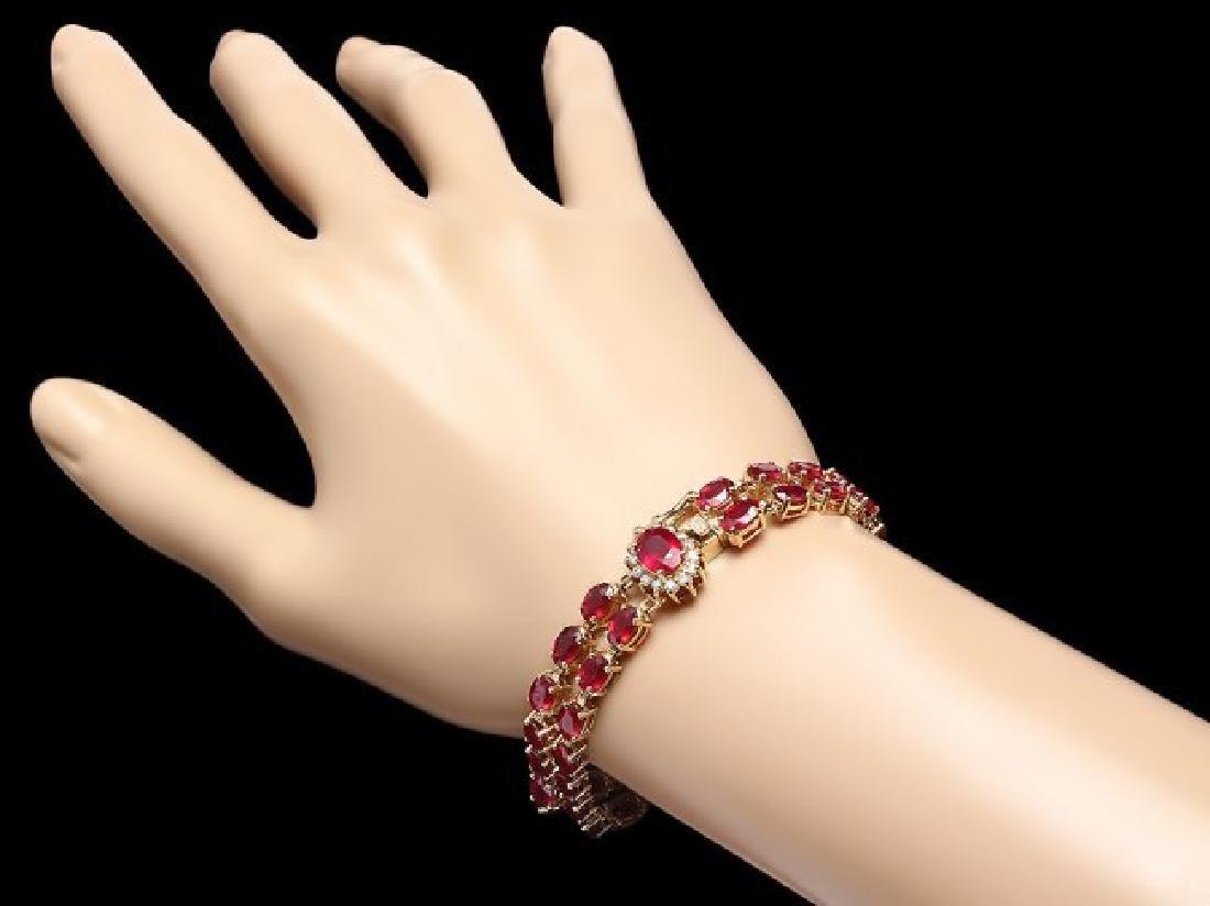 14k Yellow Gold 31ct Ruby 0.30ct Diamond Bracelet - 4