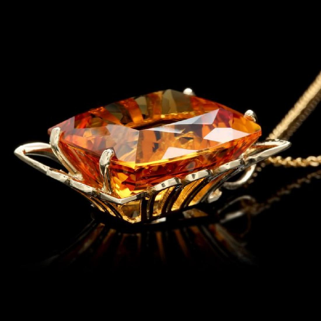 14k Yellow Gold 55.00ct Citrine Pendant - 3