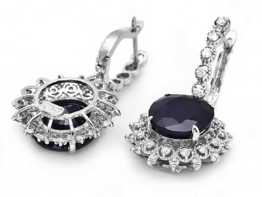 14k Gold 15ct Sapphire 1.50ct Diamond Earrings - 2