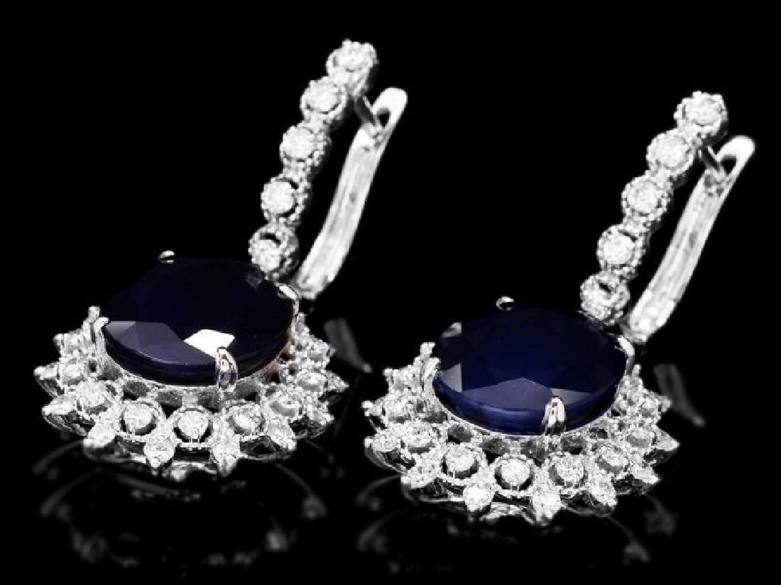 14k Gold 15ct Sapphire 1.50ct Diamond Earrings - 3