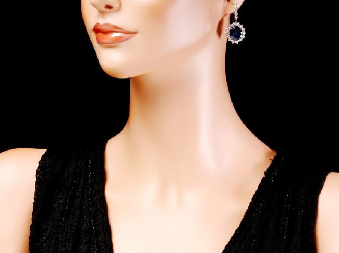 14k Gold 15ct Sapphire 1.50ct Diamond Earrings - 4