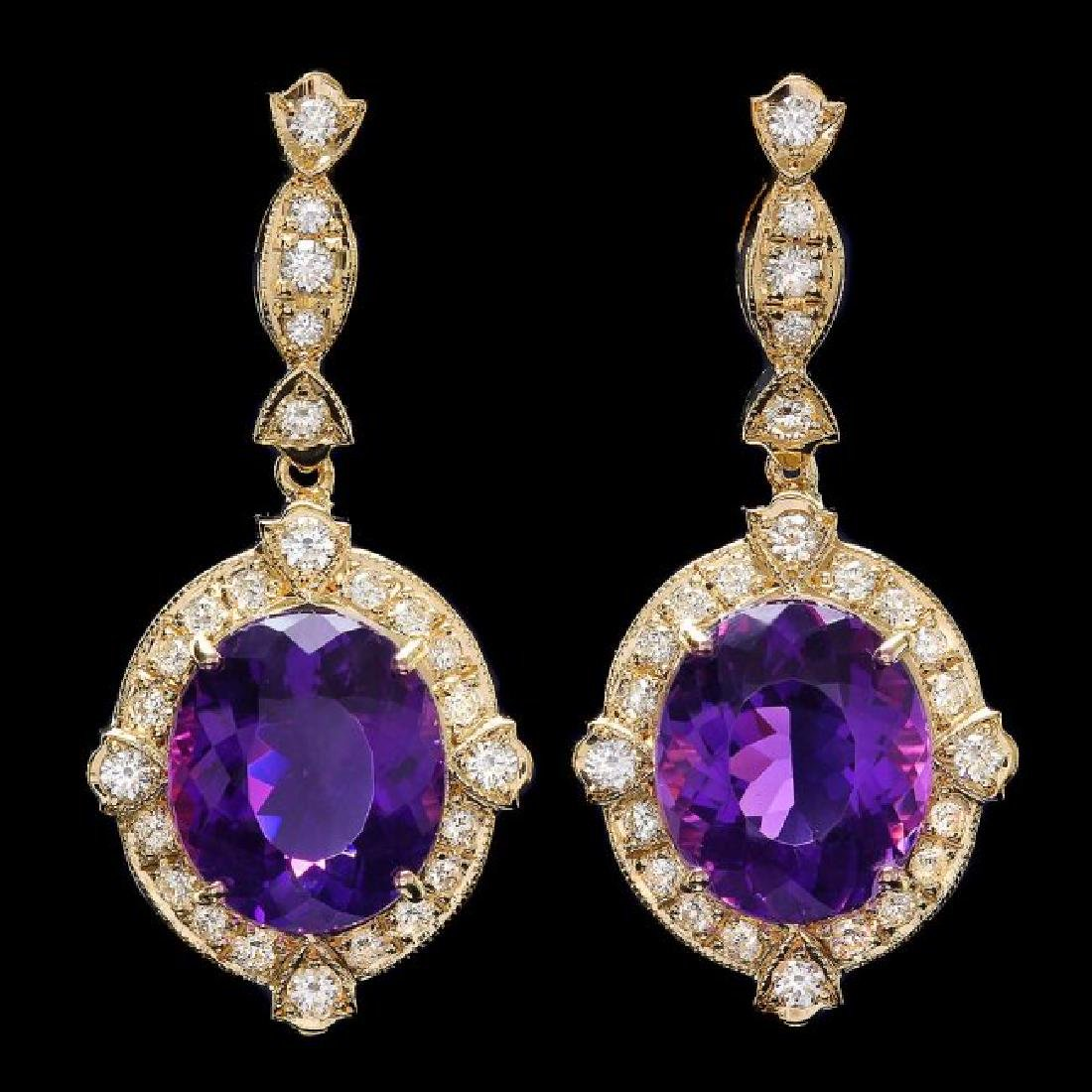 14k Gold 16ct Amethyst 1.7ct Diamond Earrings