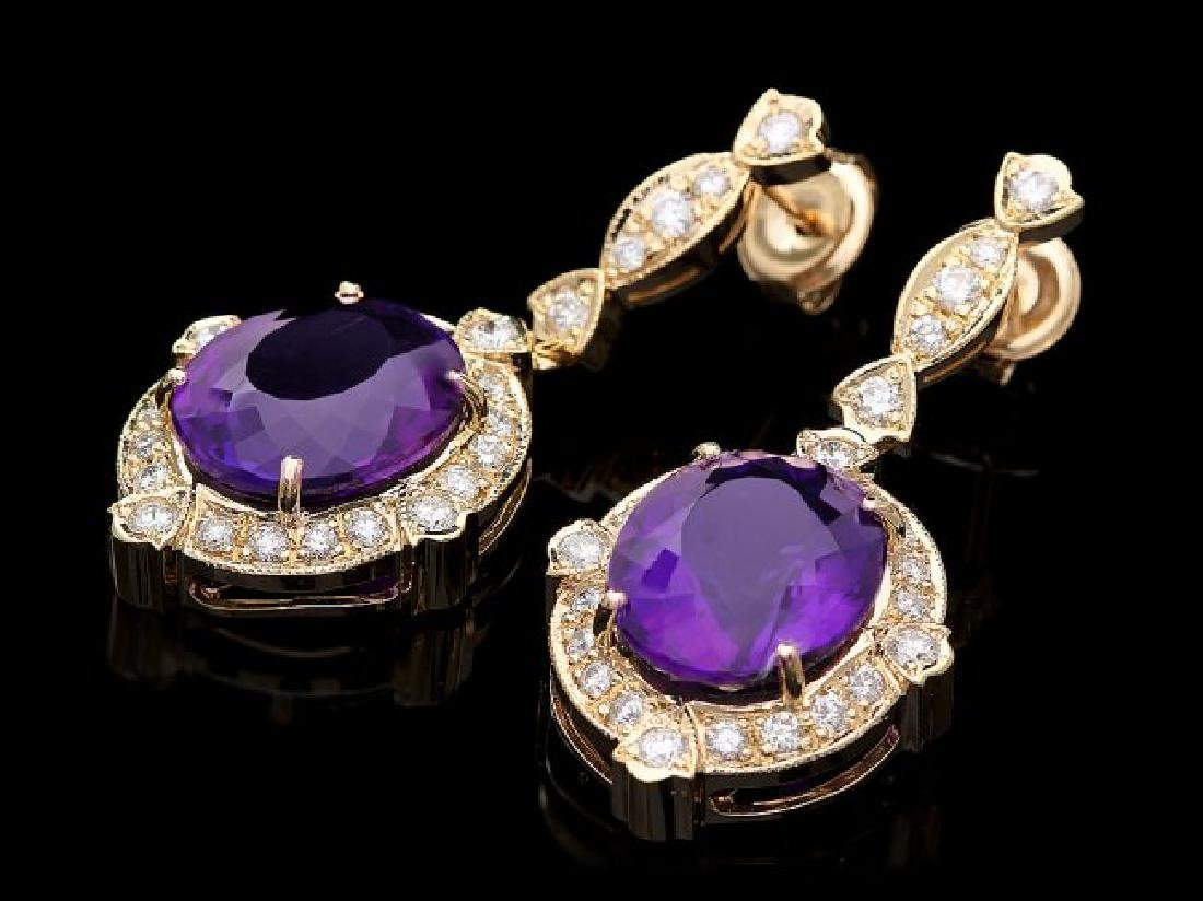 14k Gold 16ct Amethyst 1.7ct Diamond Earrings - 2