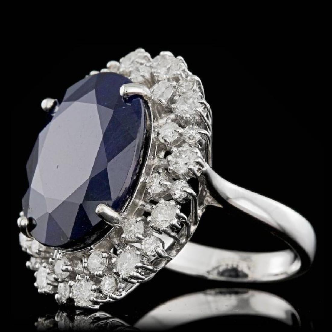 14k Gold 16.00ct Sapphire 1.55ct Diamond Ring - 2