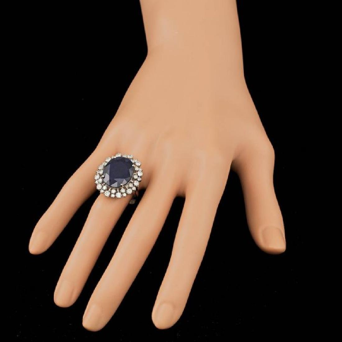 14k Gold 16.00ct Sapphire 1.55ct Diamond Ring - 4