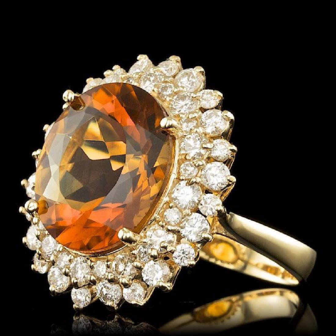 14k Gold 7.00ct Citrine 1.75ct Diamond Ring - 2