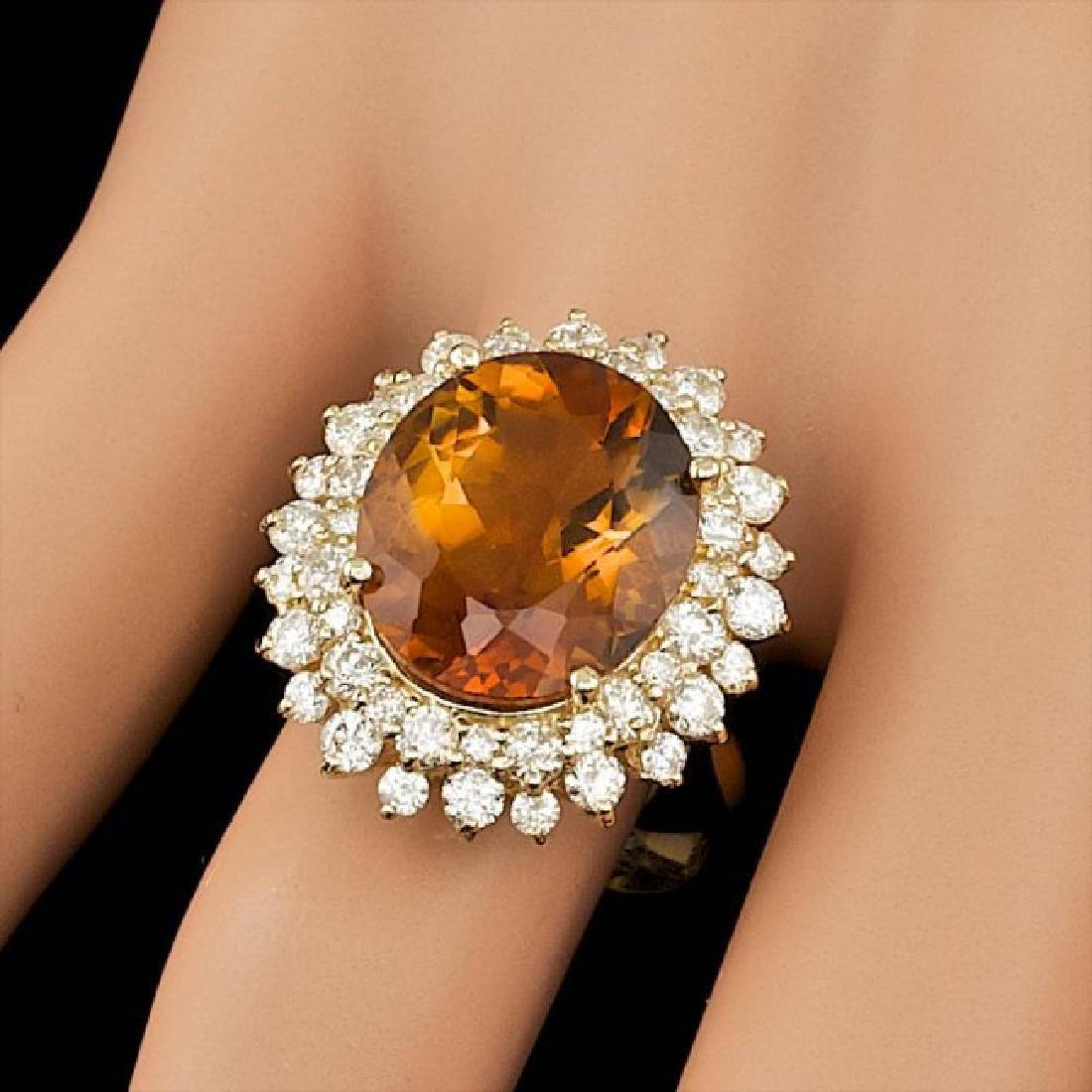 14k Gold 7.00ct Citrine 1.75ct Diamond Ring - 4