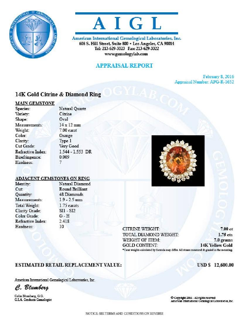 14k Gold 7.00ct Citrine 1.75ct Diamond Ring - 5