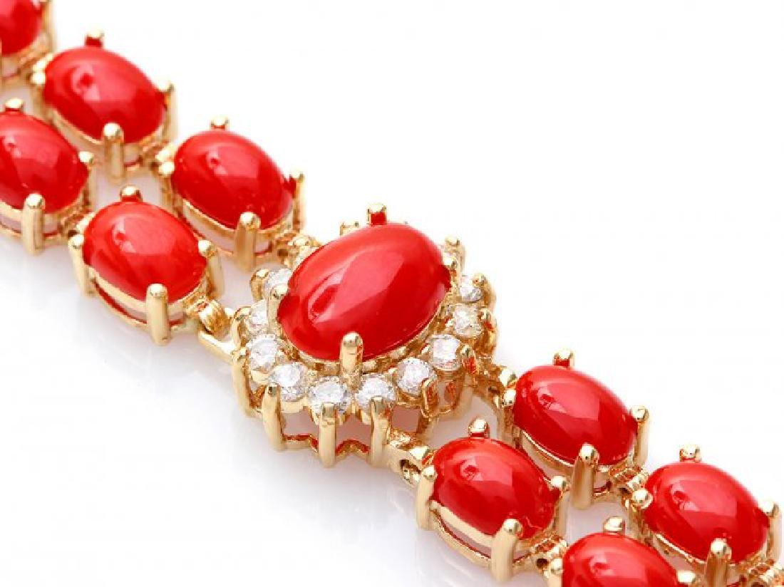 14k Gold 16.5ct Coral 1.20ct Diamond Bracelet - 2