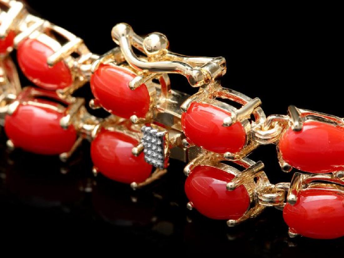 14k Gold 16.5ct Coral 1.20ct Diamond Bracelet - 3