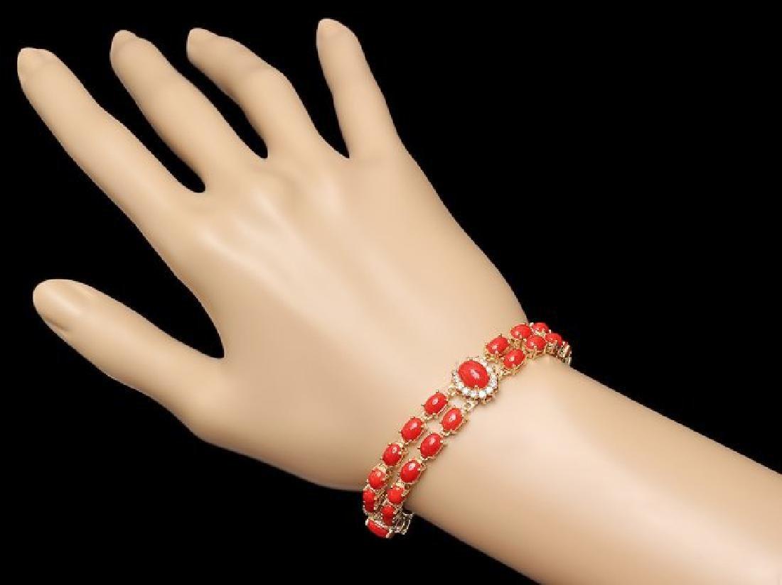 14k Gold 16.5ct Coral 1.20ct Diamond Bracelet - 5