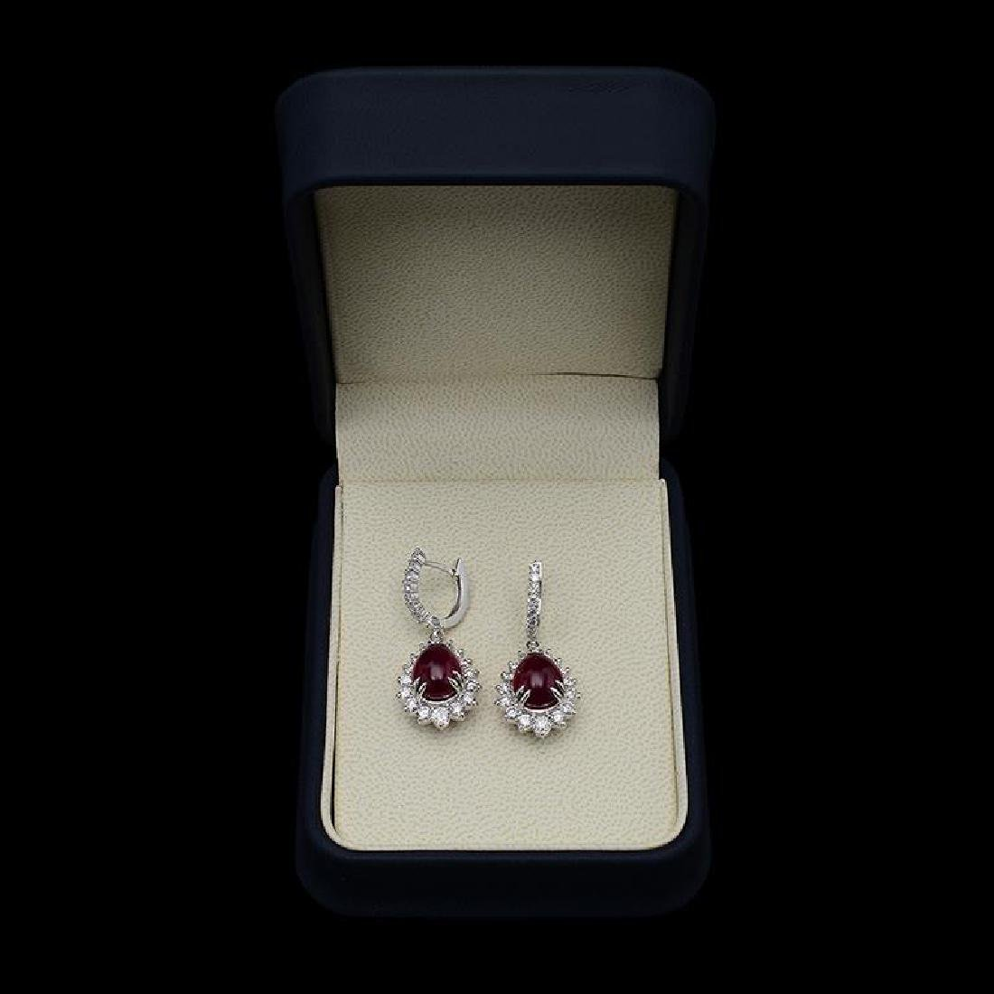 14K Gold 10.89ct Ruby 2.43ct  Diamond Earrings - 2