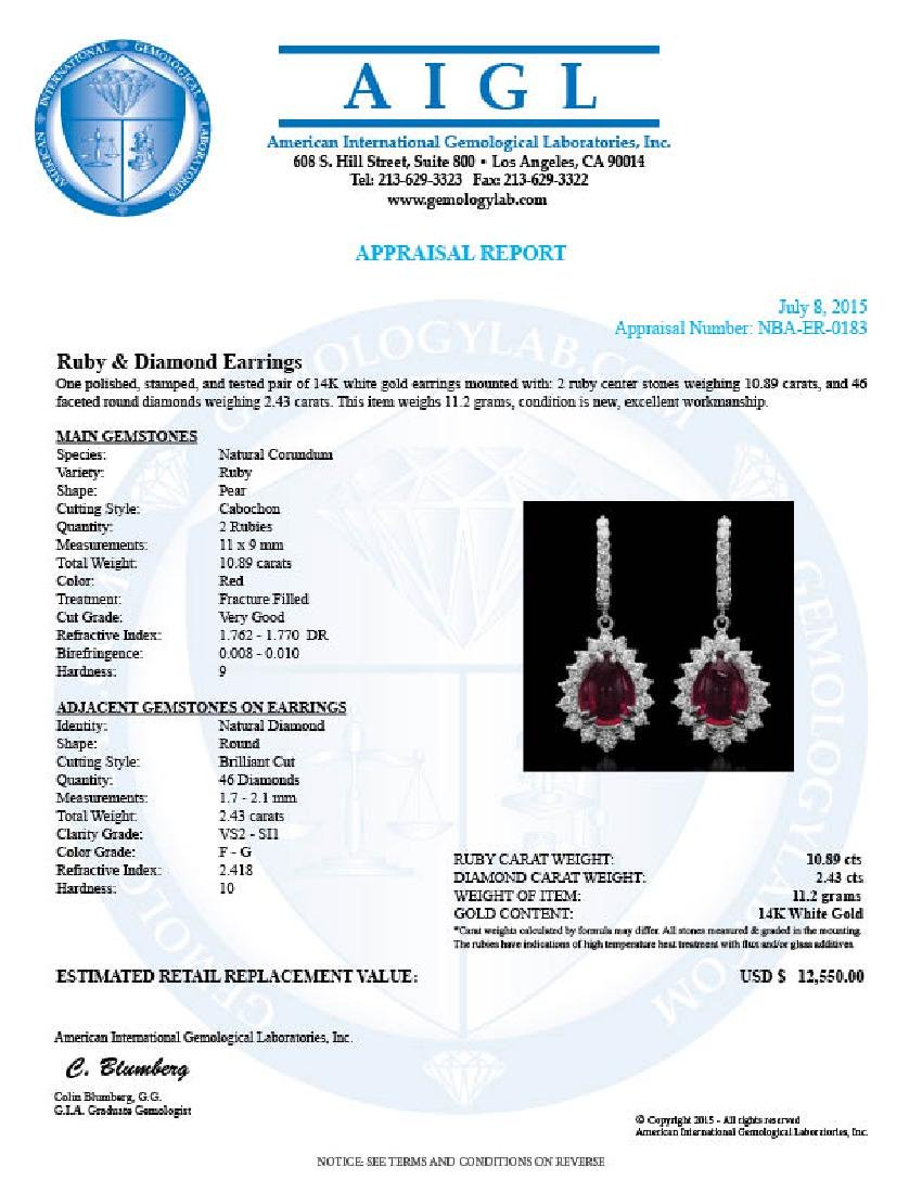14K Gold 10.89ct Ruby 2.43ct  Diamond Earrings - 3