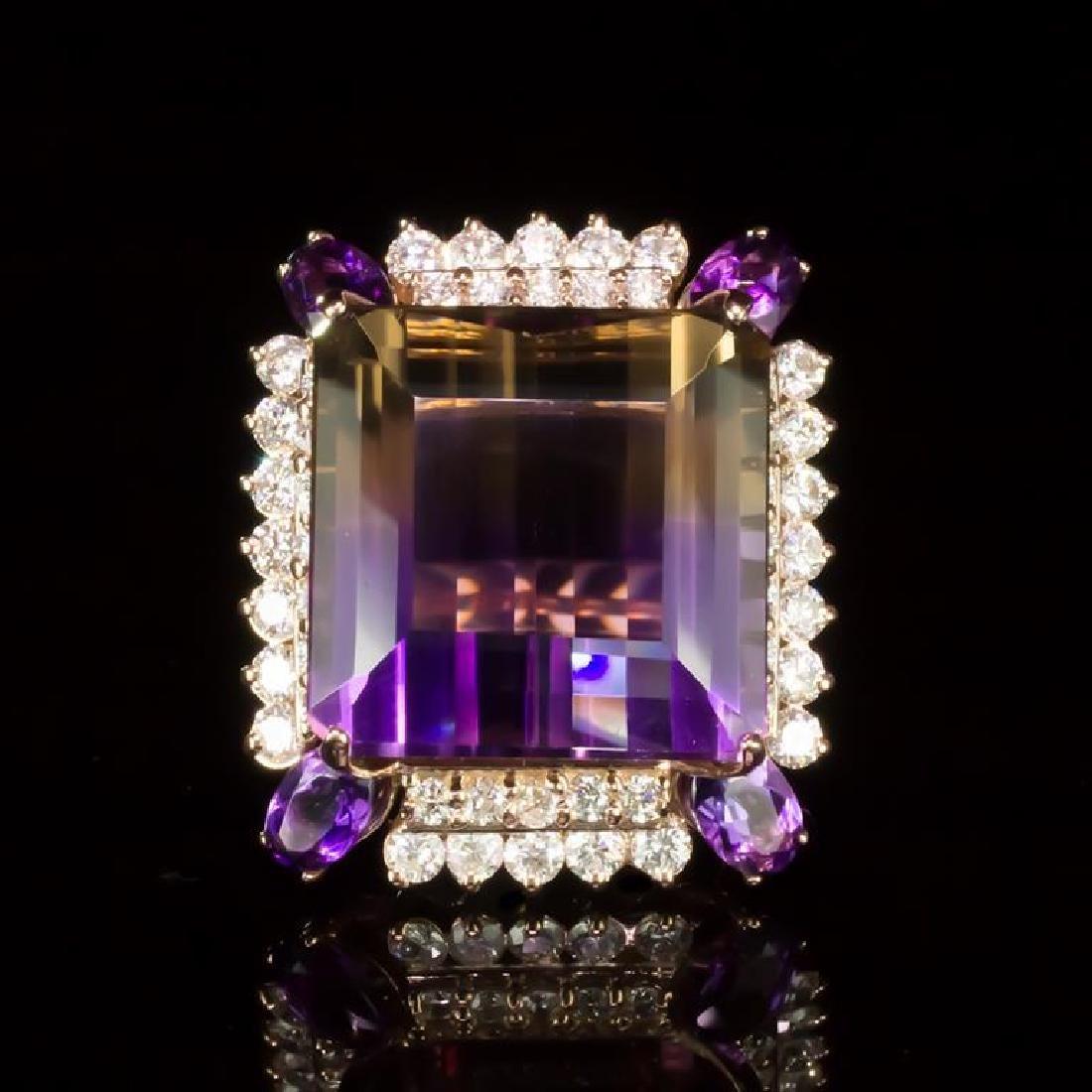 14K Gold 26.70 Ametrine, 2.28ct Amethyst 2.17ct Diamond