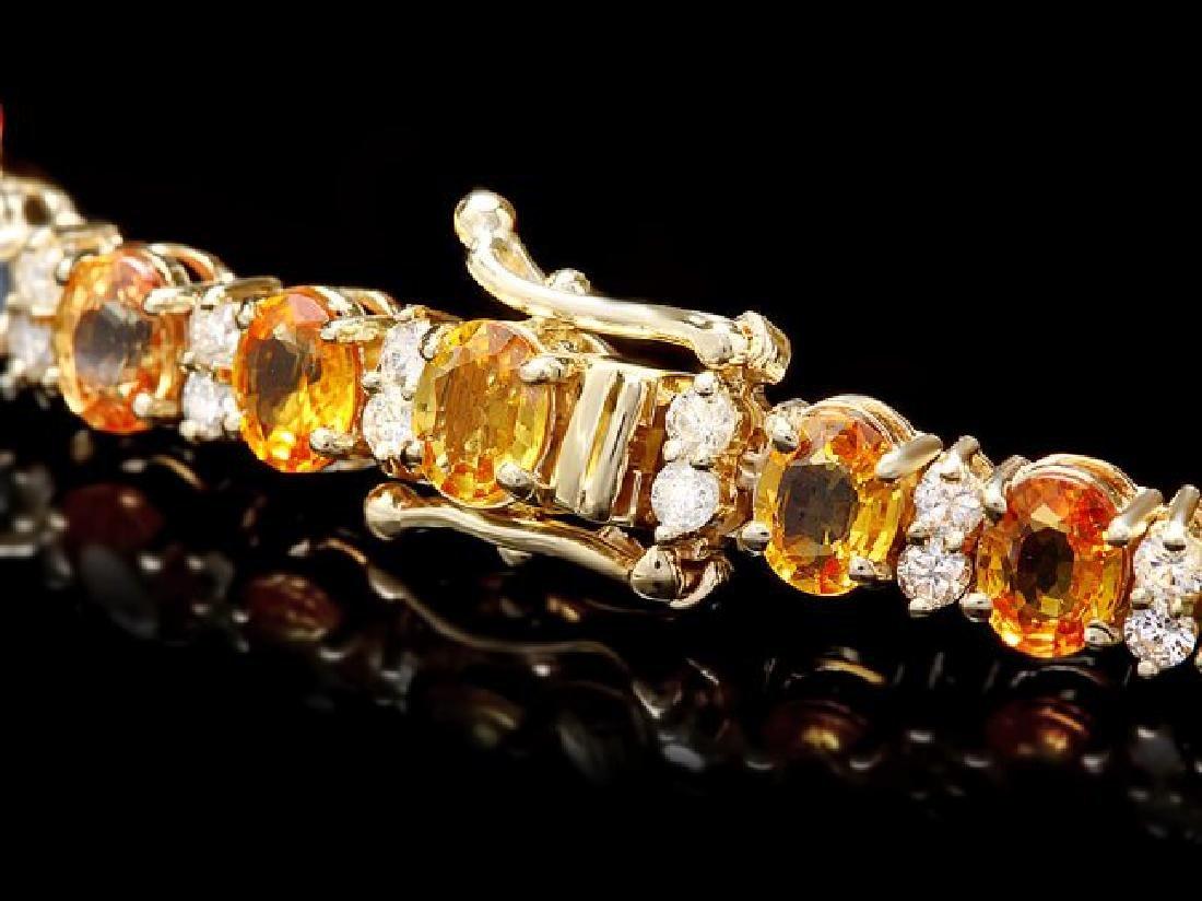 14k Gold 12ct Sapphire 1.80ct Diamond Bracelet - 2