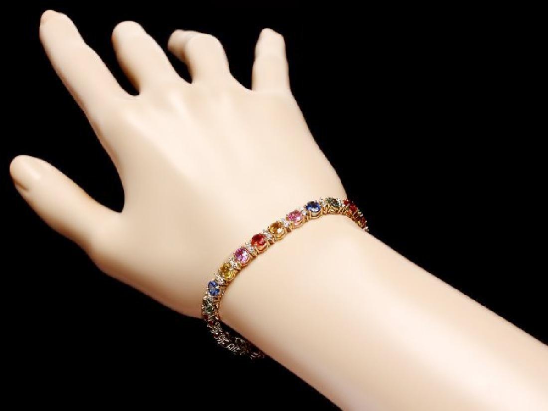 14k Gold 12ct Sapphire 1.80ct Diamond Bracelet - 4