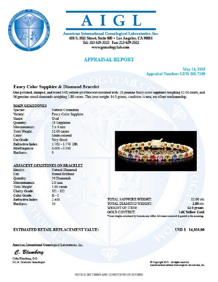 14k Gold 12ct Sapphire 1.80ct Diamond Bracelet - 5