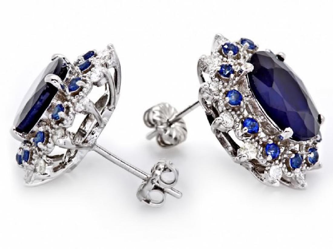 14k Gold 8ct Sapphire 0.70ct Diamond Earrings - 2
