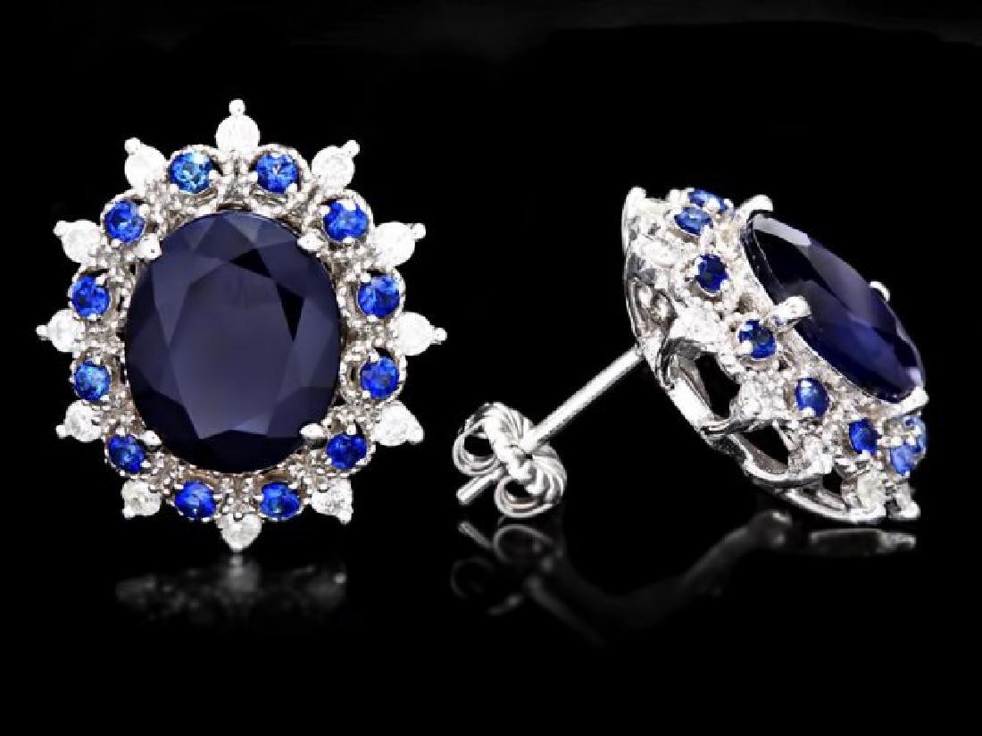 14k Gold 8ct Sapphire 0.70ct Diamond Earrings - 3