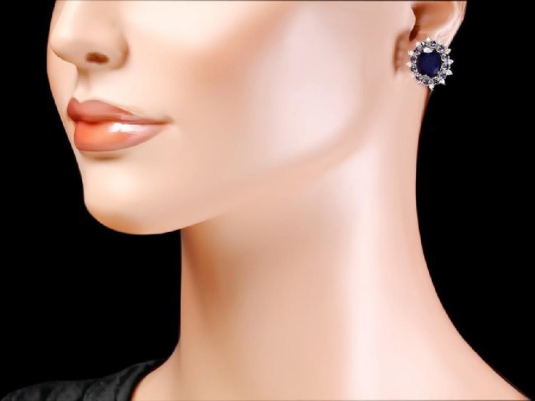 14k Gold 8ct Sapphire 0.70ct Diamond Earrings - 4