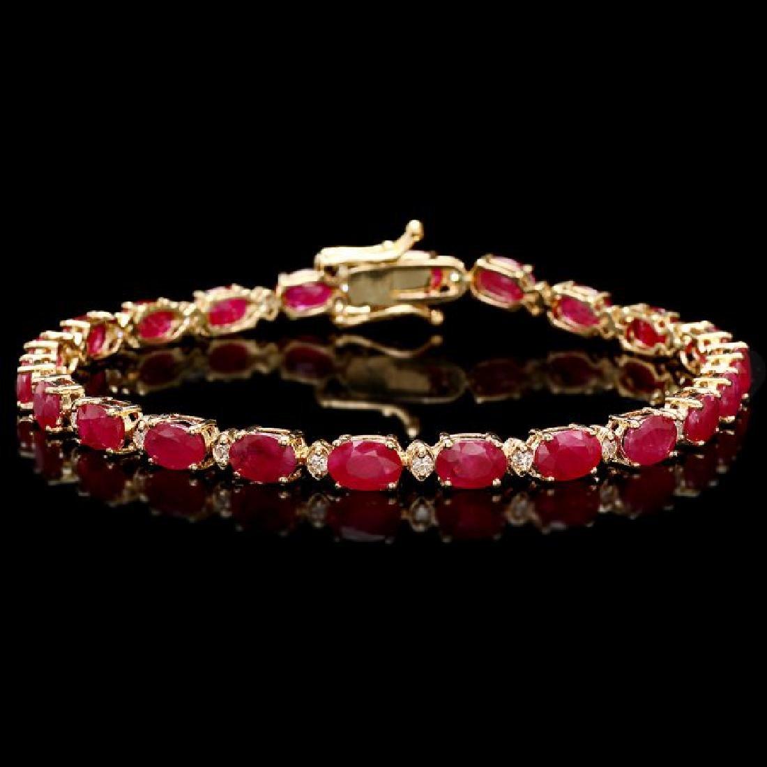14k Gold 11.50ct Ruby 0.40ct Diamond Bracelet